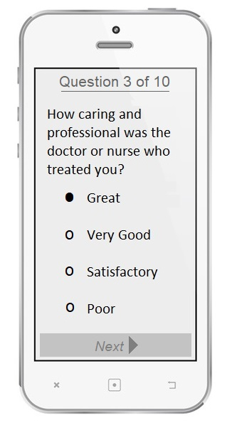 Survey question on patient's mobile phone